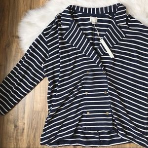 Caslon Stripe Knit Drawstring Ivory Brooke Jacket